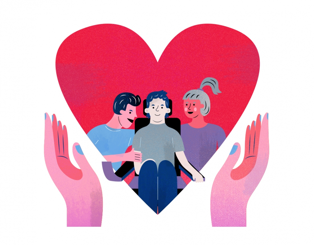 Hands holding heart, inside is boy with muscular dystrophy with two people beside him